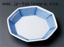 呉須線彫八角皿