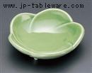 梅型グリーン三ツ足小皿