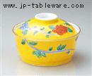 黄釉一珍牡丹煮物碗