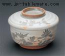 古萩彫蘭平むし碗