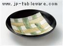 釉彩黒籠目8寸鉢