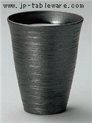 黒土線彫フリーカップ(大)
