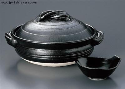 黒釉らせん6号鍋