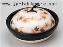 黒釉花遊び耐熱鍋