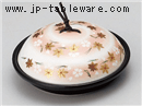 黒釉花遊び陶板