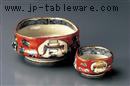 文字入赤濃刺身鉢