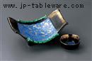 黒釉金彩舟形刺身鉢