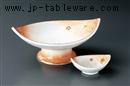 オレンジ吹高台刺身鉢