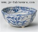 藍染間取花三ツ足5寸鉢