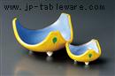 黄交趾三ツ山刺身鉢