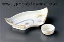 白吹竜田川扇型刺身鉢