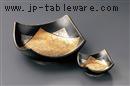 四角マロン金銀黒マット刺身鉢