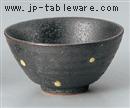 黒ゆず黄水玉茶碗(大)