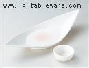 ラスターピンク笹折皿