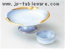 金彩マロン青地刺身鉢