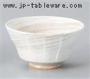 粉引刷毛ソギ型茶碗