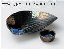 黒釉三色吹砂目半月刺身鉢