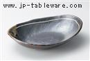 鉄釉一珍ライン小判鉢