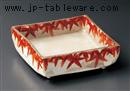 赤絵渕紅葉17cm角鉢