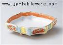 十草赤丸紋六角盛鉢