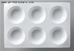 白磁タレ六ツ仕切り皿