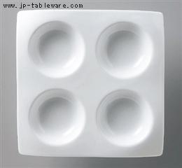 白磁タレ四ツ仕切り皿
