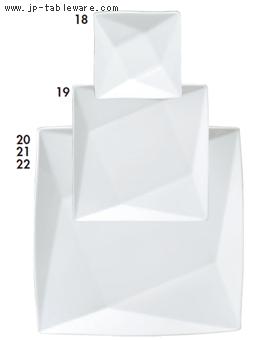 白磁折り紙13cm正角皿