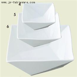 白磁折り紙10cm正角鉢