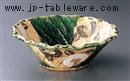 織部椿紋大鉢