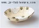 格子花楕円鉢