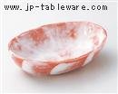 赤楽楕円鉢