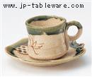 織部糸切コーヒー碗皿(碗と受け皿セット)