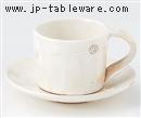 粉引紋切立コーヒー碗 C/S(碗と受け皿セット)