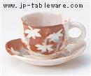 紅志野紅葉コーヒーC/S(碗と受け皿セット)