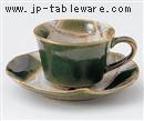 織部格子コーヒー碗皿(碗と受け皿セット)
