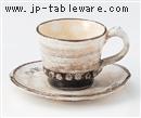 手造り粉引三島コーヒーC/S(碗と受け皿セット)