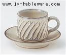 白釉スパイラルコーヒーC/S(碗と受け皿セット)