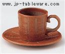 彫トクサ(赤)コーヒーC/S(碗と受け皿セット)