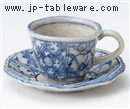 藍染間取花コーヒー碗 大(碗のみ-受け皿なし)