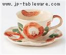 はなまる(赤)コーヒーC/S(碗と受け皿セット)