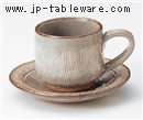 錆くし目彫コーヒーC/S(碗と受け皿セット)