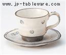 粉引印花コーヒー碗皿(碗と受け皿セット)