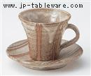 灰釉立線コーヒー C/S(碗と受け皿セット)