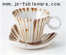 手ひねり十草碗皿(碗と受け皿セット)
