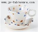 手ひねり水玉碗皿(碗と受け皿セット)