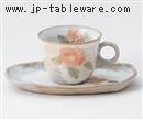 粉引野の花椿C/S(碗と受け皿セット)