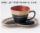 黒朱サビハケコーヒーC/S(碗と受け皿セット)