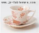 平安桜コーヒーC/S(赤)(碗と受け皿セット)