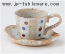 白タタキ水玉コーヒーC/S(碗と受け皿セット)