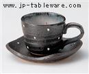 黒釉水玉コーヒーC/S(碗と受け皿セット)